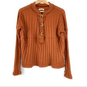 Free People Long Sleeve Top w/ Oversized Buttons